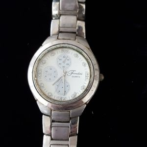 Men's Fondini Quartz Silver Tone Watch White Face